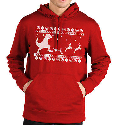 T-Rex Christmas Dinner Hoodie Fair Isle Christmas Jumper Funny Men Dinosaur Xmas • 20.95£