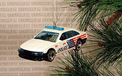 American Flag Police Cruiser Car Red White & Blue Christmas Ornament Xmas • 7.63£