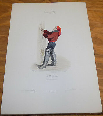 1850 Antique COLOR Print, French Costumes///YOUNG SAILOR BOY, FRANCE • 29.93£