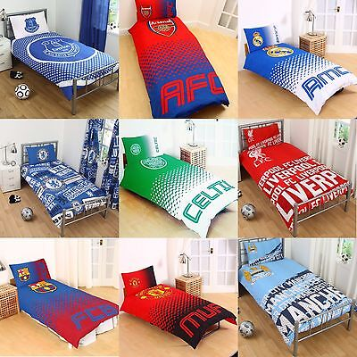New Football Club Single Duvet Quilt Cover Sets Boys Kids Bedroom Bedding Gift  • 17.95£