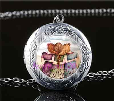 £1.82 • Buy Sister Friendship Cabochon Glass Tibet Silver Chain Locket Pendant Necklace
