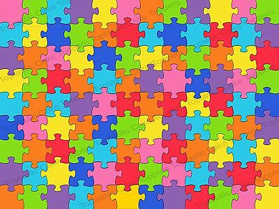 £4.15 • Buy Jigsaw Puzzle Colourful Background Pattern Edible Icing Cake Topper