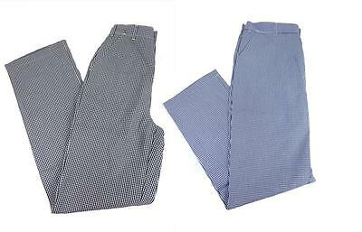 £7.99 • Buy Chef Trousers Chefs Whites Gingham Blue & Black Check Pants Female Fit D5