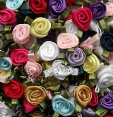 Mini Small Satin Ribbon Rose Flowers With Satin Leaves Choose Colour, Pack Size • 1.59£