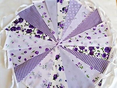 Lilac Fabric Bunting Wedding Vintage Shabby Chic Handmade Garland Banner  • 5.50£