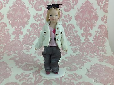 $ CDN11.35 • Buy Dollhouse Miniature Porcelain Little Blondie Girl Poseable Doll With Stand 1:12