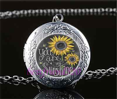 AU2.79 • Buy You Are My Sunshine Cabochon Glass Tibet Silver Locket Pendant Necklace