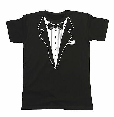 £7.47 • Buy Tuxedo Mens ORGANIC T-Shirt Suit Tie Wedding Fancy Dress Stag Party Dinner Gift