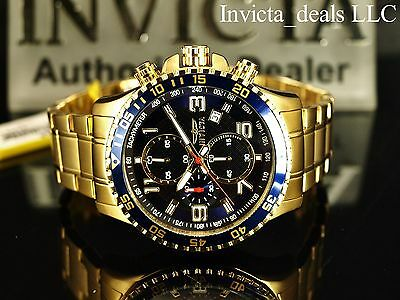 Invicta Men's 45mm Specialty Chronograph 18K Gold Plated Blue Dial SS Watch • 58.51£