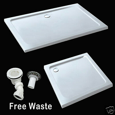 £90.78 • Buy Walk In Slimline Shower Enclosure Tray Rectangle Square Stone Tray Free Waste