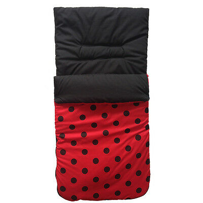 New Red Black Polka Dots Ladybird Cosytoes Footmuff Liner For Pushchair HAUCK+ • 18.99£
