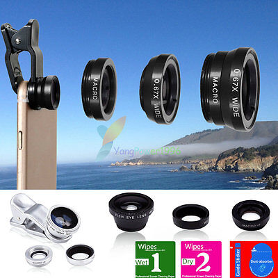 AU4.99 • Buy 3in1 YP12 Clip On Camera Lens 180°Fisheye+Wide Angle+Macro For Cell Phone Galaxy