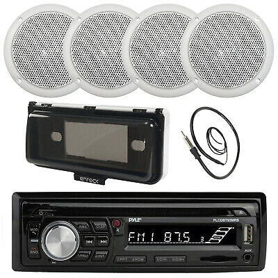 $101.49 • Buy Pyle CD SD Bluetooth Boat Stereo, 5  Marine Speakers, Radio Cover, Antenna