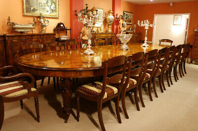 Huge Bespoke Marquetry Dining Table 16 Chairs Extending Walnut • 21,500£
