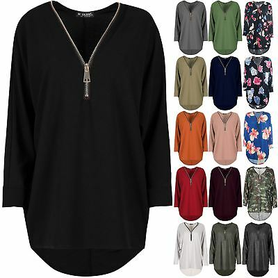 Womens Ladies Lagenlook Jumper Zip Up Baggy Oversize High Low Batwing Sleeve Top • 8.49£