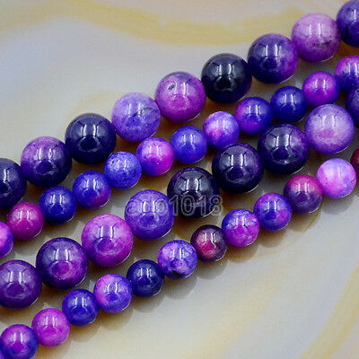 $6.98 • Buy Purple Sugilite Jade Round Gemstone Loose Beads 15  6mm 8mm