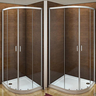 Aica Offset Quadrant Shower Enclosure & Tray Walk In Corner Cubicle Glass Door • 109.90£