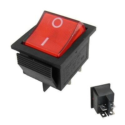 £3.20 • Buy Rocker Switch DPST ON-OFF 15A 250V 4 Pin Double Pole Snap In Car With Red Lamp