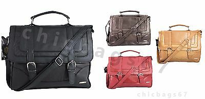 Mens Women Cowhide Genuine Real Leather Briefcase Satchel Shoulder Office Bag UK • 19.99£