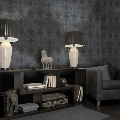 Holden Statement Zena Damask Pattern Wallpaper Stripe Motif Glitter 65271 Black • 13.95£