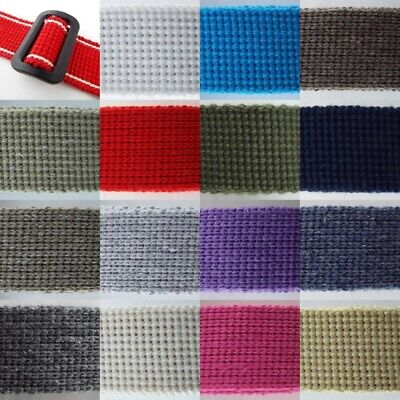 15 COLOUR 30mm Cotton Acrylic Webbing 2mm Thick Bag Handle Belt Strap BUY 1 2 4m • 4.10£