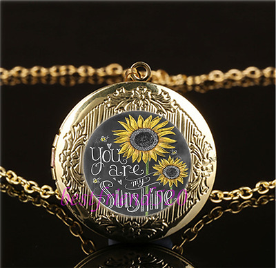 AU2.79 • Buy You Are My Sunshine Cabochon Glass Gold Plating Locket Pendant Necklace