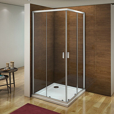 Aica 760X760 Corner Entry Shower Enclosure Walk In Sliding Glass Screen Cubicle • 93.99£