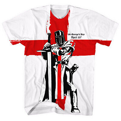 £12.95 • Buy St Georges Day Knight England Flag All Over T-SHIRT April Men White Party L42