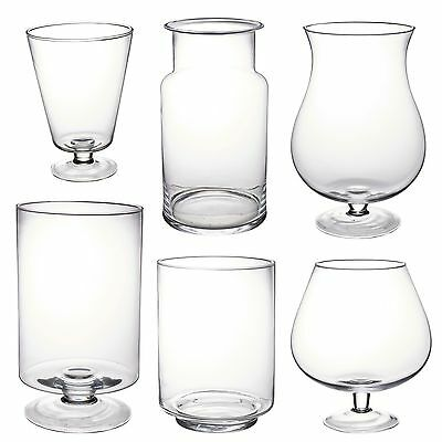 Large Clear Glass Vase Footed Centrepiece Decorative Tall Flower Display Table • 10.99£
