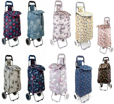 2 Wheeled Lightweight Printed Folding Shopping Trolley Luggage Cart Grocery Bag • 14.99£