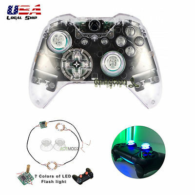 $14.39 • Buy Clear Full Set Shell Buttons Led Light Thumb Stick Cover For Xbox One Controller
