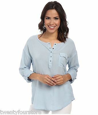 NWT $108 Splendid Rayon Voile Henley Shirt W/ Roll Up Sleeves In Mist Blue Sz S • 11.20£