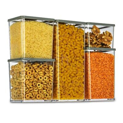 £9.95 • Buy 5x Containers Airtight Food Storage Kitchen Accessories Cereal Tub Lid Stackable