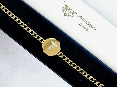 £24.99 • Buy ARABESQUES SOS BRACELET/MEDICAL/EMERGENCY 9ct GOLD PLATED/STAINLESS TALISMAN
