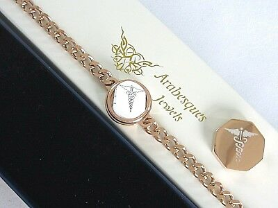 £24.99 • Buy Arabesques Sos Bracelet/medical/emergency Rose Gold Plated/stainless Talisman