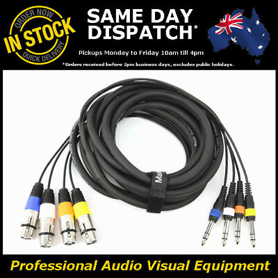 £21.24 • Buy 5-Metre 4-Way XLR Female To 1/4  Multicore Microphone Mic PA Cable Lead Cord 5M