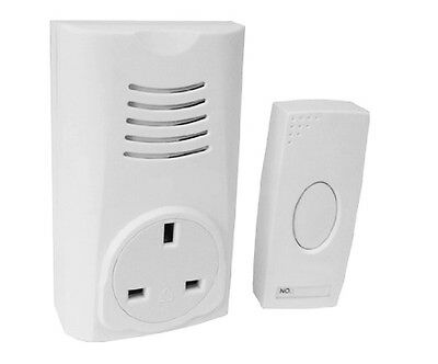 Wireless Cordless Remote Plug In Through Socket White 16 Melody Door Bell Chime • 12.94£
