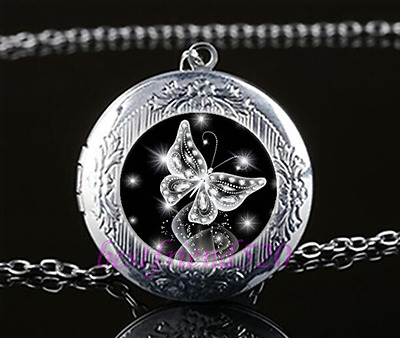 £1.82 • Buy Butterfly Cabochon Glass Tibet Silver Chain Locket Pendant Necklace