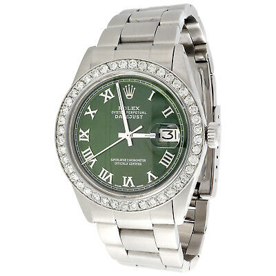 $5495 • Buy Mens Rolex 36mm DateJust Diamond Watch Oyster Steel Band Green Roman Dial 1.9 CT