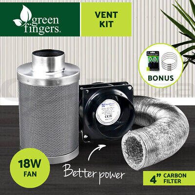 AU169.90 • Buy Greenfingers 4 Hydroponics Grow Tent Kit Ventilation Kit Fan Carbon Filter Duct