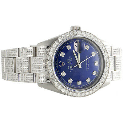 $ CDN9128.30 • Buy Mens Rolex 36mm DateJust Diamond Watch Fully Iced Band Custom Blue Dial 5.10 CT.