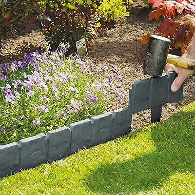 £9.95 • Buy Cobbled Stone Effect Plastic Garden Lawn Edging Plant Border Simply Hammer In