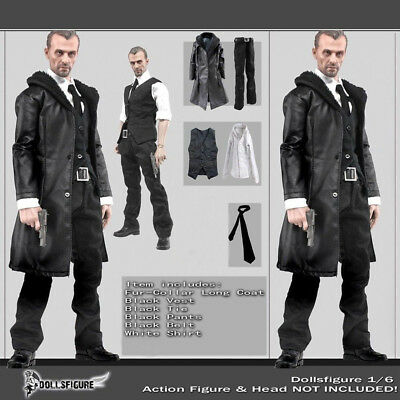 $ CDN32.64 • Buy 1/6 Scale Male Black Leather Coat Suit Clothing Set For 12  Body Hot Toys