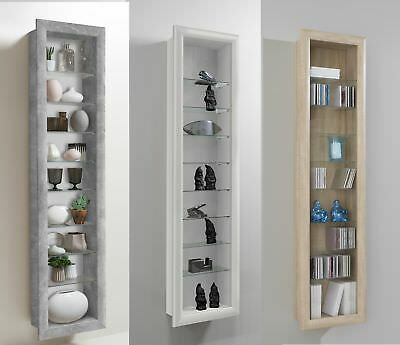 Bora Wall Mounted Glass & Wood Display Cabinet Shelving • 119.95£
