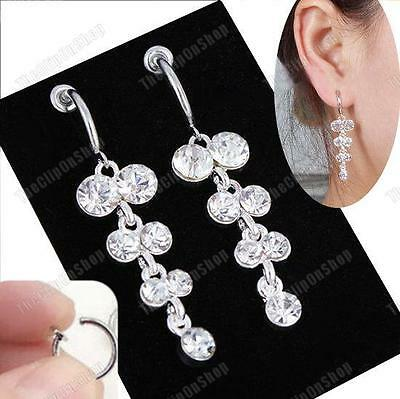 CLIP ON 2 Long SPARKLY CRYSTAL DANGLE EARRINGS Diamante SILVER PLATED Hoop Clips • 3.25£
