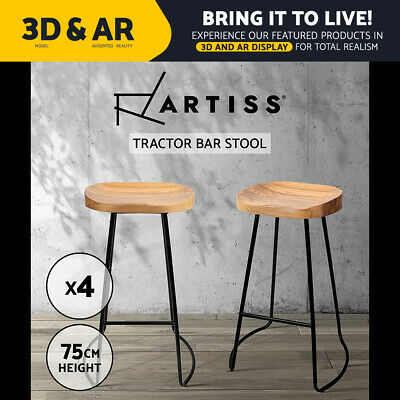 AU309.90 • Buy Artiss 4 X Vintage Tractor Bar Stools Retro Bar Stool Industrial Chairs 75cm