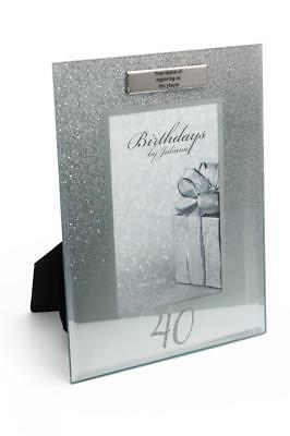 £11.29 • Buy Personalised 40th  Birthday Photo Frame Silver Glitter Gift FG59540-P