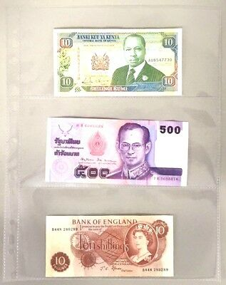 £5.95 • Buy Clear Plastic Banknote Album Sheets Sleeves Storage Folder Holds 3 Notes [D]