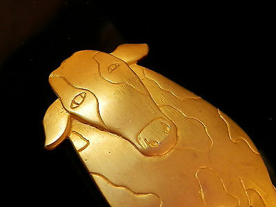 $ CDN25.12 • Buy XX Cool Large Vintage 1980's Gold Tone  Happy Cow Brooch Lots Of Details 211jn7