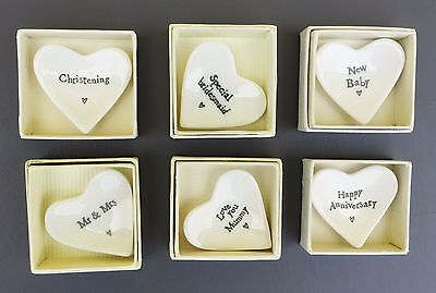 East Of India Porcelain Heart Dish Wedding Gift Anniversaries Christenings • 4.45£